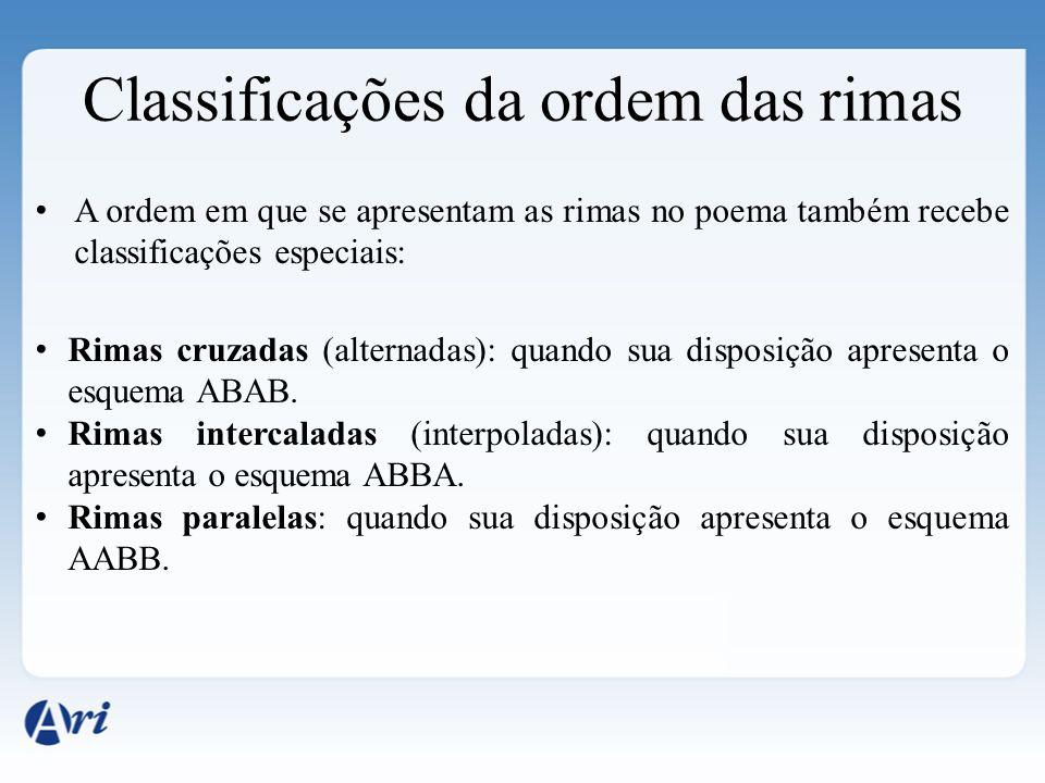Classificações da ordem das rimas