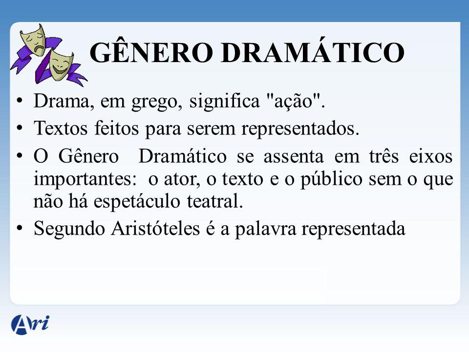 GÊNERO DRAMÁTICO Drama, em grego, significa ação .