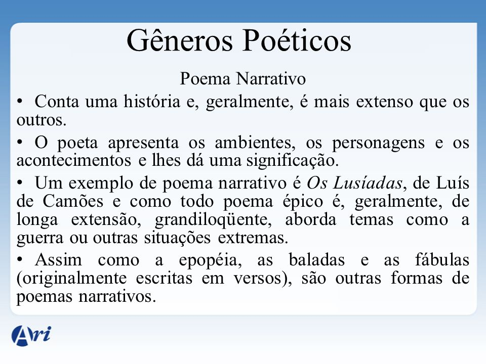 Gêneros Poéticos Poema Narrativo