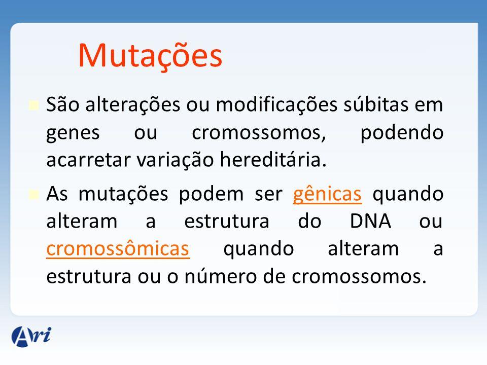 Mutações São alterações ou modificações súbitas em genes ou cromossomos, podendo acarretar variação hereditária.