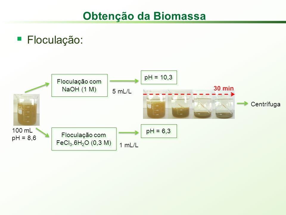 Obtenção da Biomassa Floculação: pH = 10,3 Floculação com NaOH (1 M)