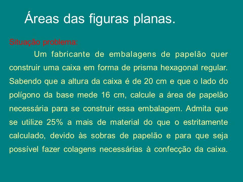 Áreas das figuras planas.