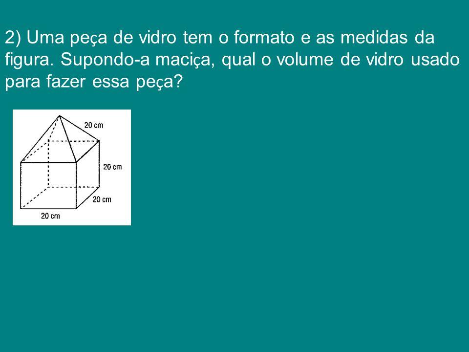 2) Uma peça de vidro tem o formato e as medidas da figura
