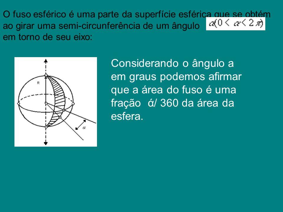 O fuso esférico é uma parte da superfície esférica que se obtém ao girar uma semi-circunferência de um ângulo em torno de seu eixo: