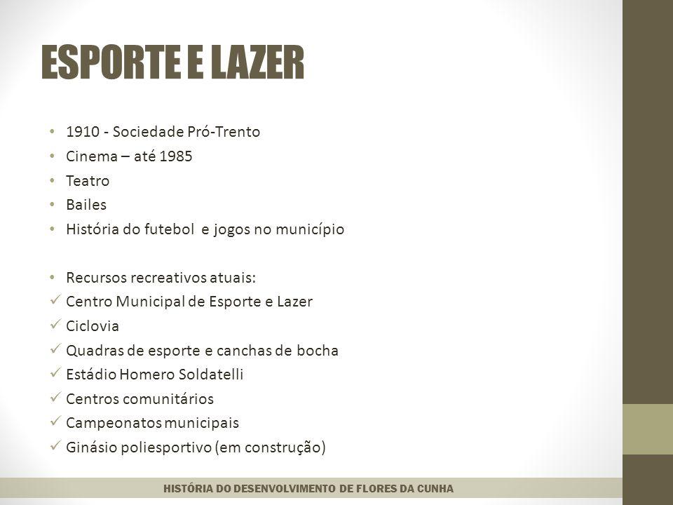 ESPORTE E LAZER 1910 - Sociedade Pró-Trento Cinema – até 1985 Teatro