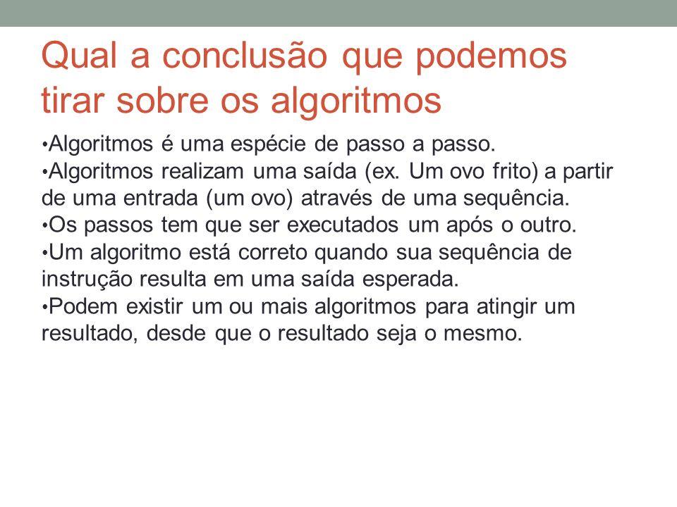 Qual a conclusão que podemos tirar sobre os algoritmos