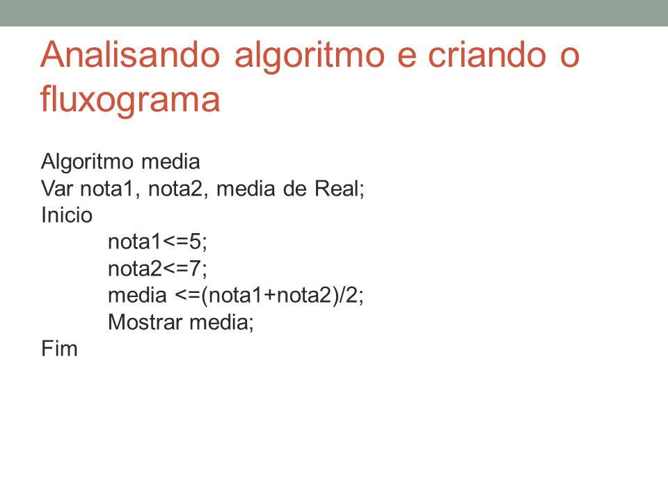 Analisando algoritmo e criando o fluxograma