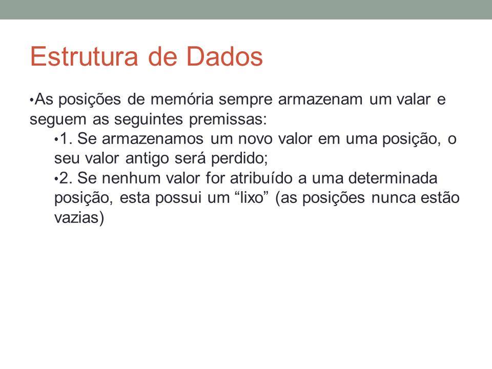 Estrutura de Dados As posições de memória sempre armazenam um valar e seguem as seguintes premissas: