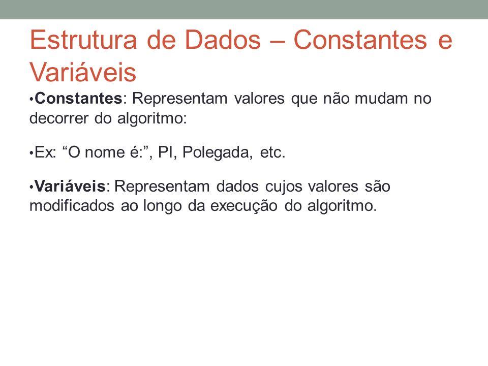 Estrutura de Dados – Constantes e Variáveis