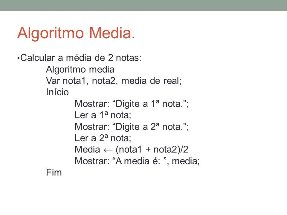 Algoritmo Media. Calcular a média de 2 notas: Algoritmo media