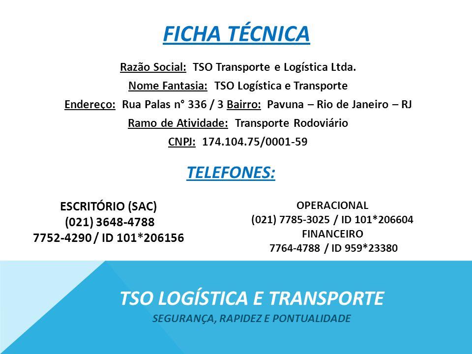 Tso logística e transporte Segurança, rapidez e pontualidade