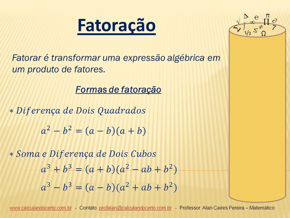 ∆ π. Fatoração. ℮ √ ∞ ∏ ∂ ∑ ∫ ≠ 7. ≤ ½. Ω. Fatorar é transformar uma expressão algébrica em um produto de fatores.