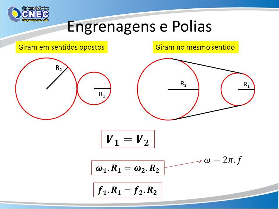 Engrenagens e Polias 𝑽 𝟏 = 𝑽 𝟐 𝜔=2𝜋.𝑓 𝝎 𝟏 . 𝑹 𝟏 = 𝝎 𝟐 . 𝑹 𝟐