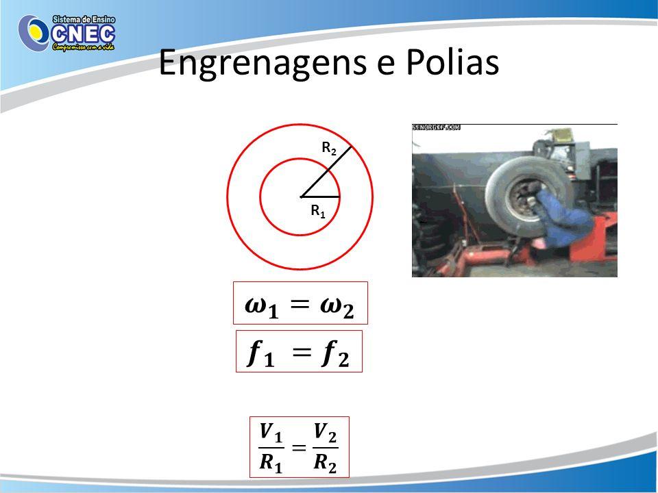 Engrenagens e Polias R2 R1 𝝎 𝟏 = 𝝎 𝟐 𝒇 𝟏 = 𝒇 𝟐 𝑽 𝟏 𝑹 𝟏 = 𝑽 𝟐 𝑹 𝟐