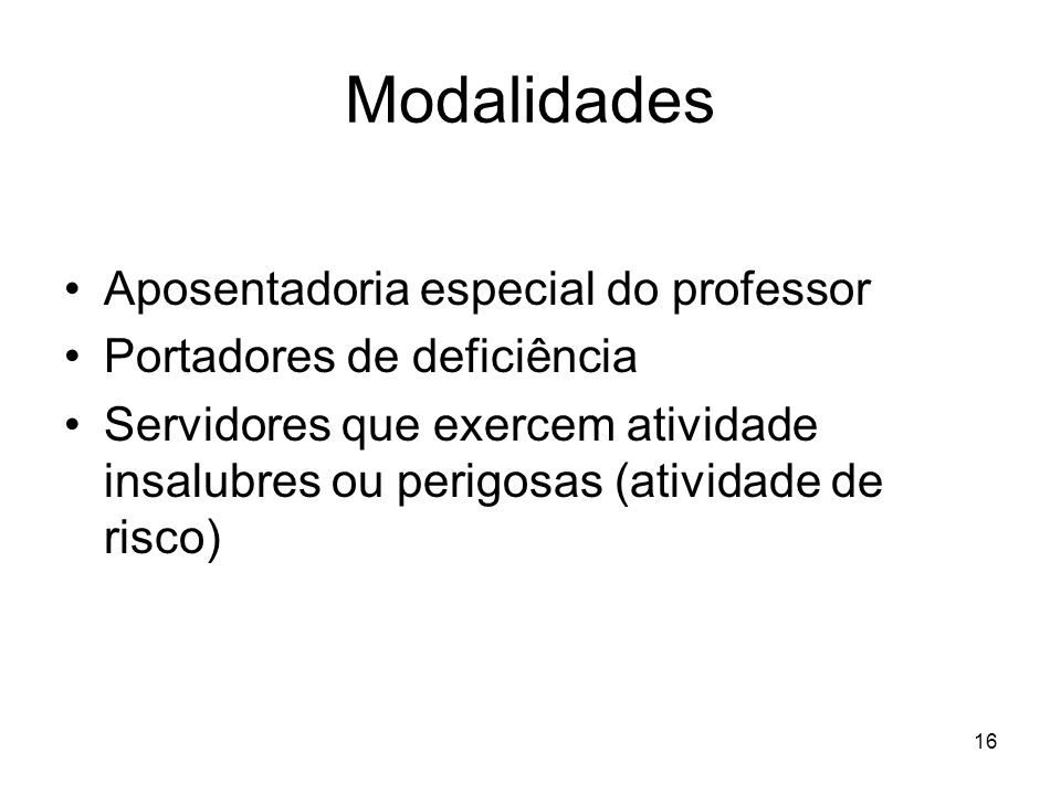 Modalidades Aposentadoria especial do professor