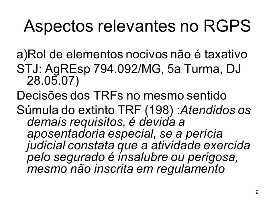 Aspectos relevantes no RGPS