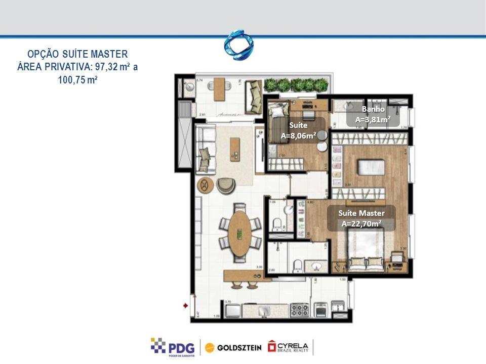 OPÇÃO SUÍTE MASTER ÁREA PRIVATIVA: 97,32 m² a 100,75 m²