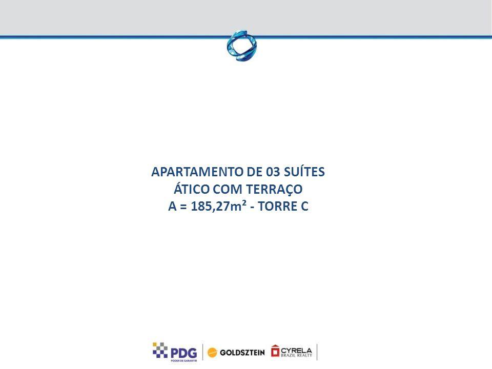 APARTAMENTO DE 03 SUÍTES ÁTICO COM TERRAÇO A = 185,27m² - TORRE C