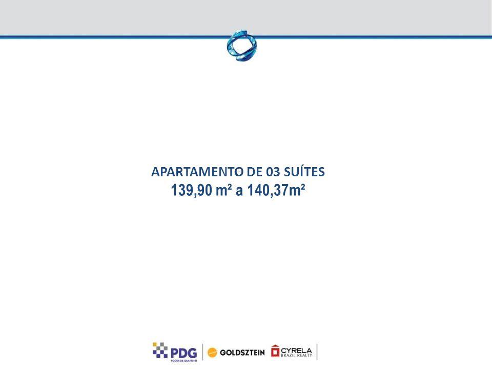 APARTAMENTO DE 03 SUÍTES 139,90 m² a 140,37m²