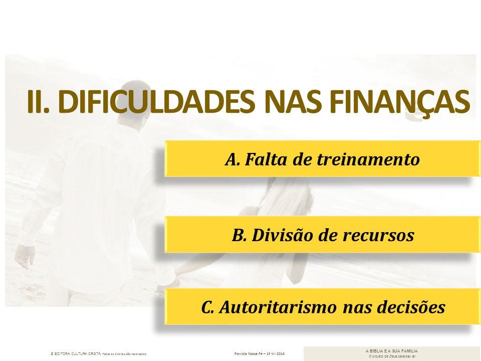 II. Dificuldades nas finanças C. Autoritarismo nas decisões