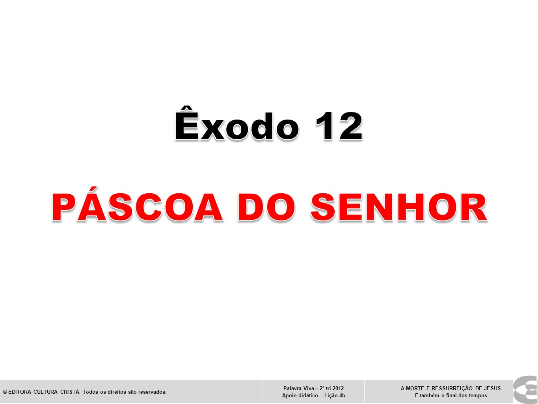 Êxodo 12 Páscoa do Senhor. © EDITORA CULTURA CRISTÃ. Todos os direitos são reservados. Palavra Viva – 2º tri 2012.