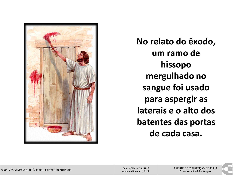 No relato do êxodo, um ramo de hissopo mergulhado no sangue foi usado para aspergir as laterais e o alto dos batentes das portas de cada casa.