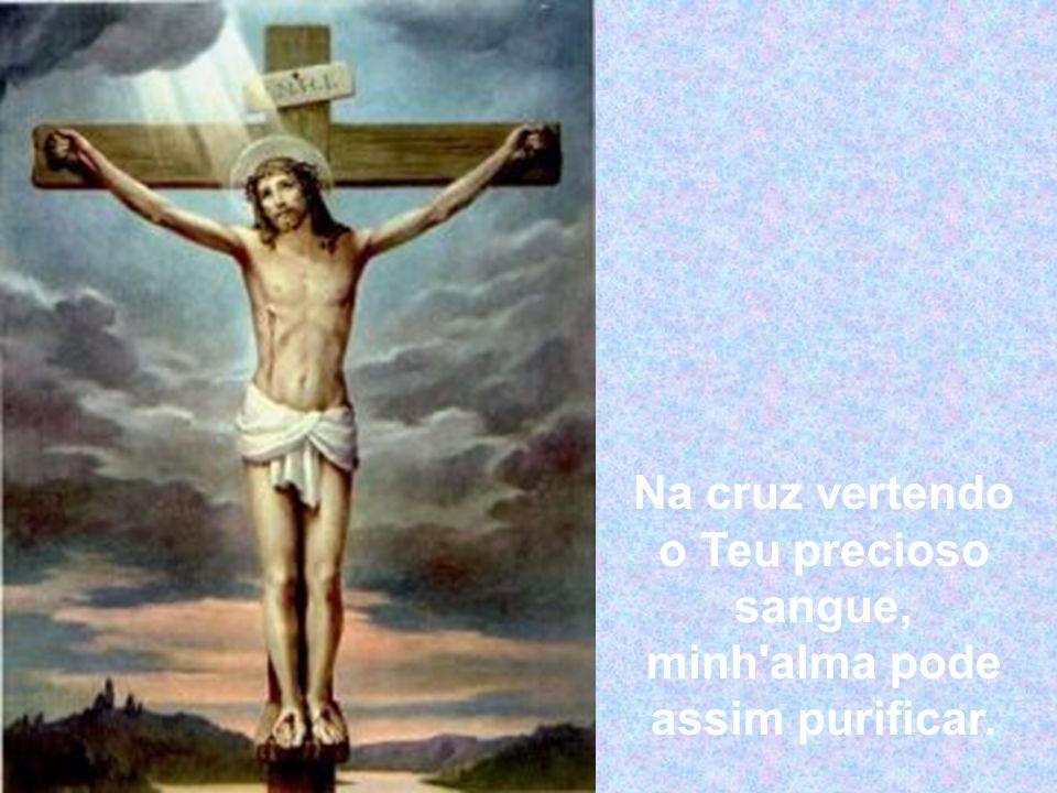 Na cruz vertendo o Teu precioso sangue, minh alma pode assim purificar.