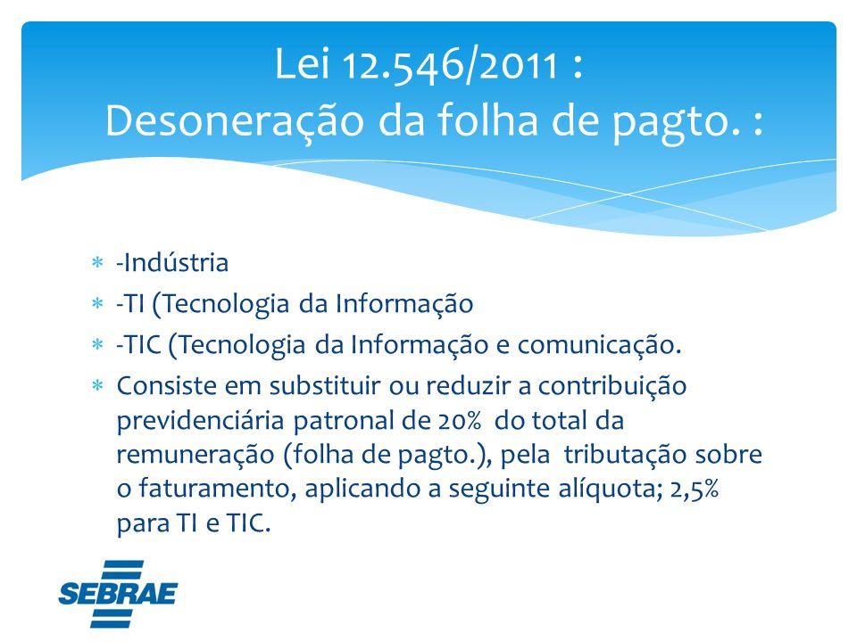 Lei 12.546/2011 : Desoneração da folha de pagto. :