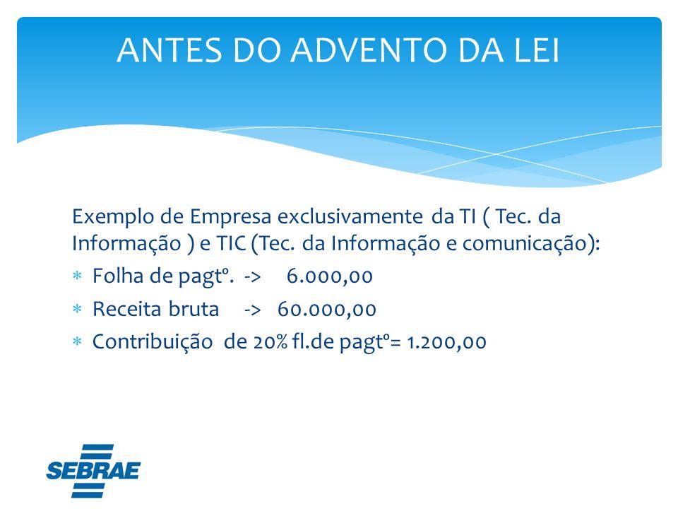 ANTES DO ADVENTO DA LEI Exemplo de Empresa exclusivamente da TI ( Tec. da Informação ) e TIC (Tec. da Informação e comunicação):
