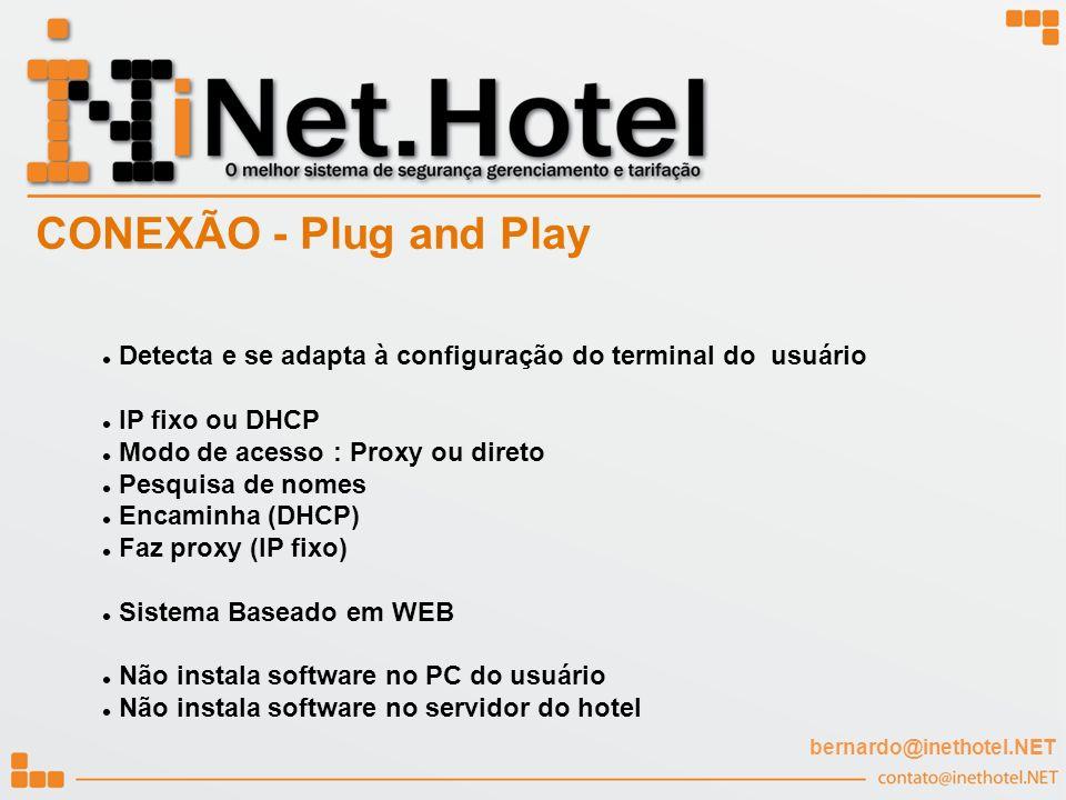 CONEXÃO - Plug and Play Detecta e se adapta à configuração do terminal do usuário. IP fixo ou DHCP.