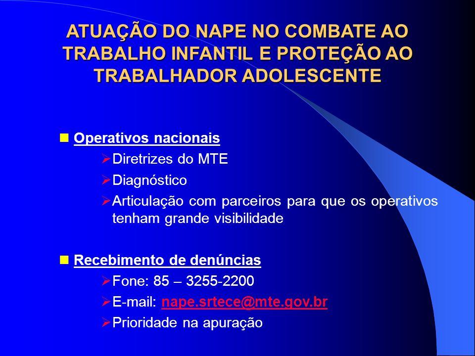 ATUAÇÃO DO NAPE NO COMBATE AO TRABALHO INFANTIL E PROTEÇÃO AO TRABALHADOR ADOLESCENTE