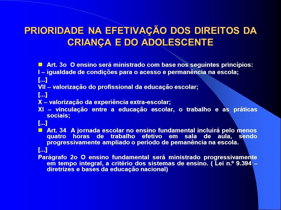 PRIORIDADE NA EFETIVAÇÃO DOS DIREITOS DA CRIANÇA E DO ADOLESCENTE