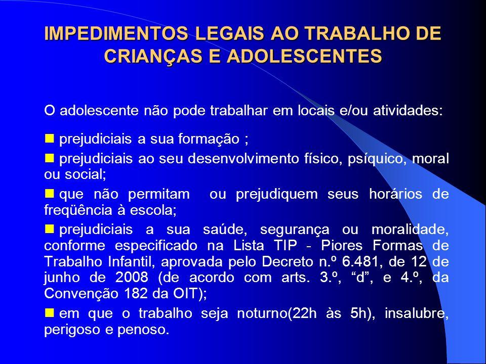 IMPEDIMENTOS LEGAIS AO TRABALHO DE CRIANÇAS E ADOLESCENTES