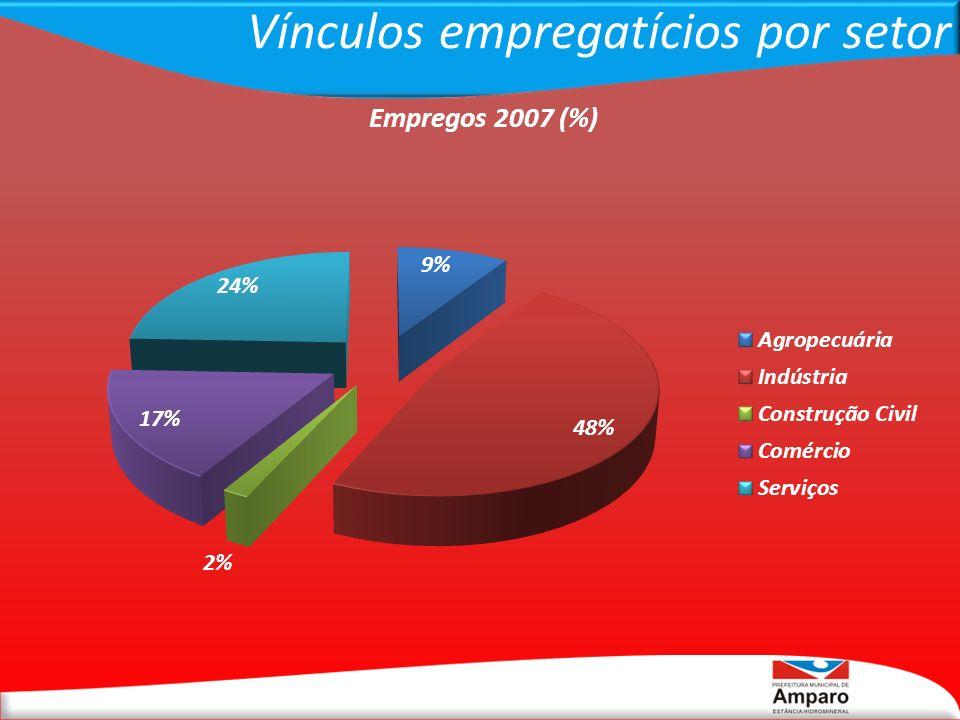 Vínculos empregatícios por setor