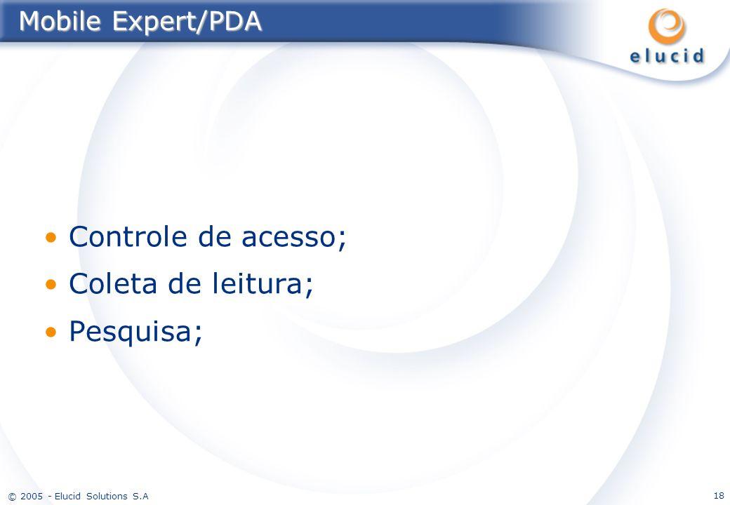 Mobile Expert/PDA Controle de acesso; Coleta de leitura; Pesquisa;