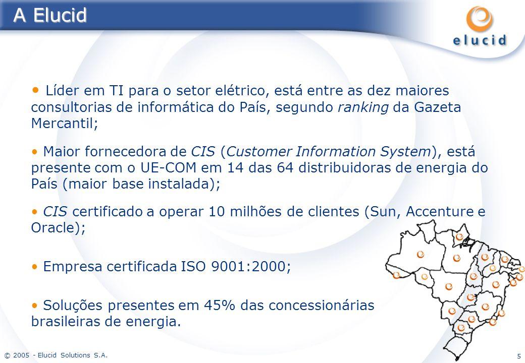 A Elucid Líder em TI para o setor elétrico, está entre as dez maiores consultorias de informática do País, segundo ranking da Gazeta Mercantil;