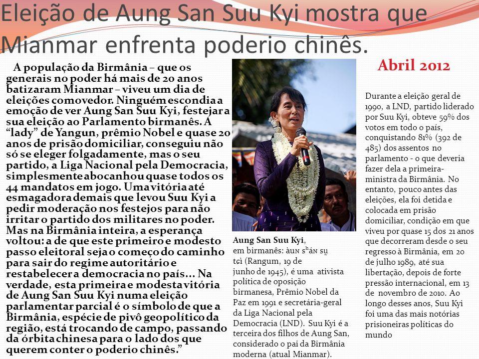 Eleição de Aung San Suu Kyi mostra que Mianmar enfrenta poderio chinês.