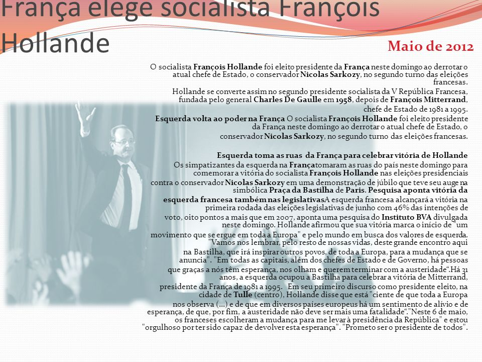 França elege socialista François Hollande