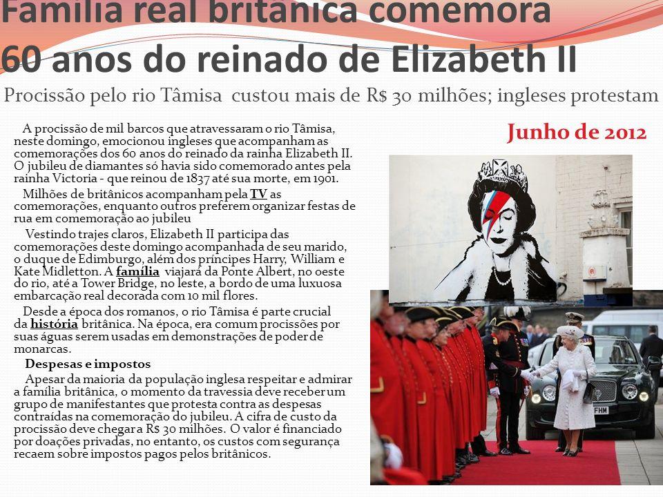 Família real britânica comemora 60 anos do reinado de Elizabeth II