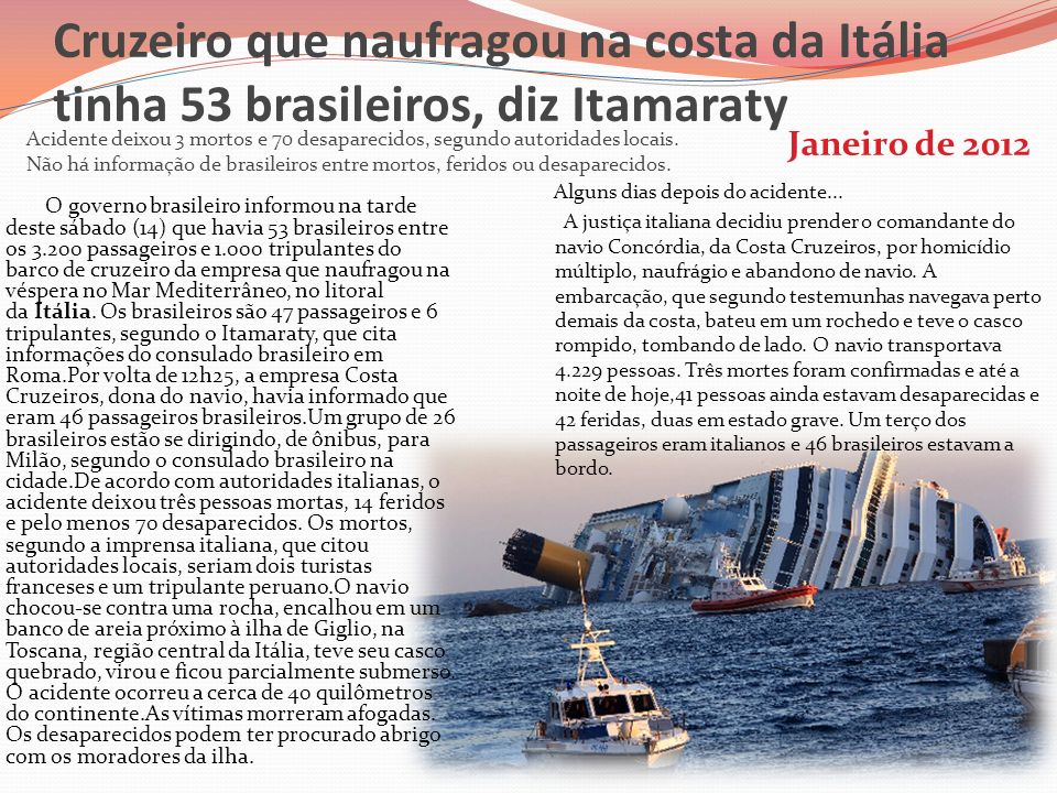 Cruzeiro que naufragou na costa da Itália tinha 53 brasileiros, diz Itamaraty