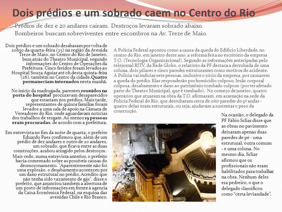 Dois prédios e um sobrado caem no Centro do Rio