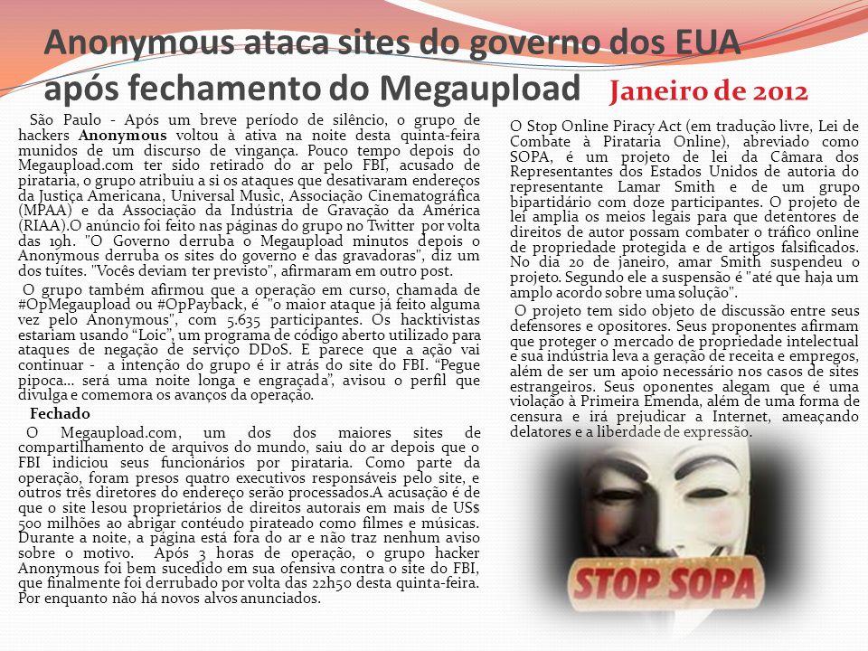 Anonymous ataca sites do governo dos EUA após fechamento do Megaupload