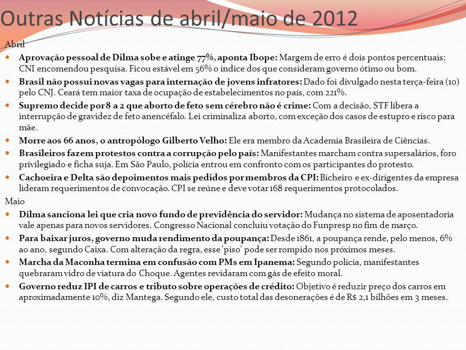 Outras Notícias de abril/maio de 2012