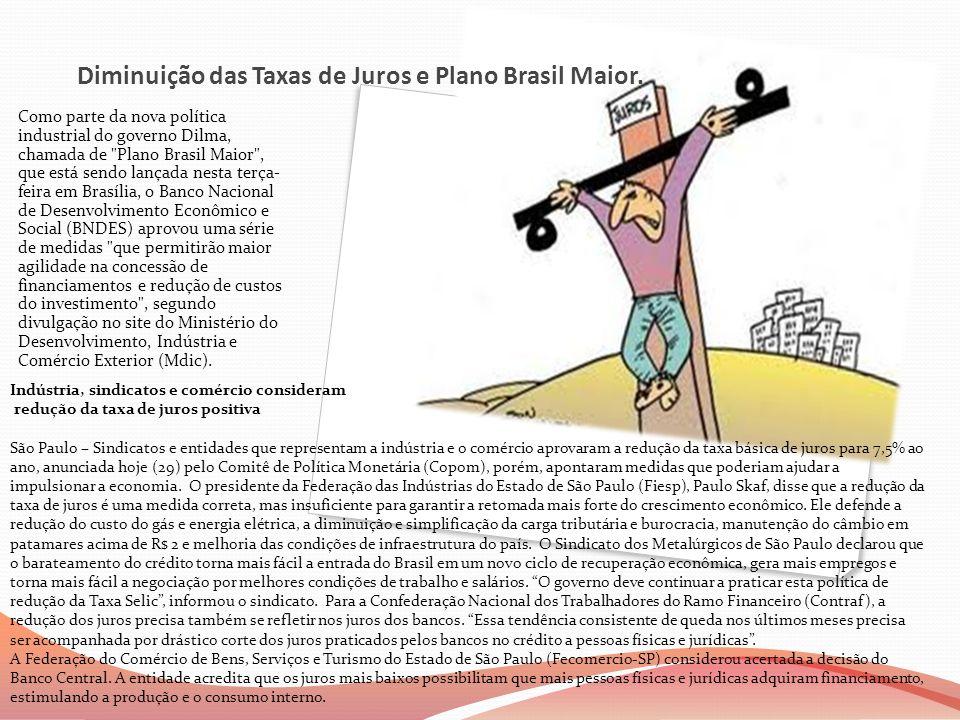 Diminuição das Taxas de Juros e Plano Brasil Maior.