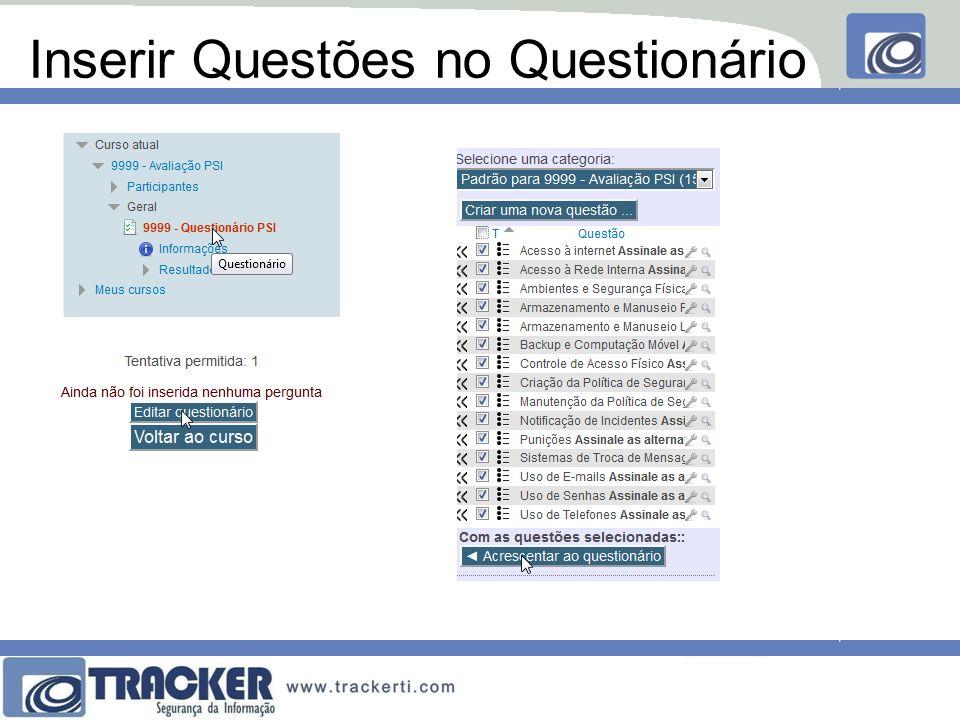 Inserir Questões no Questionário
