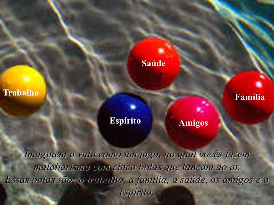Saúde Trabalho. Família. Espírito. Amigos. Imaginem a vida como um jogo, no qual vocês fazem malabarismo com cinco bolas que lançam ao ar.