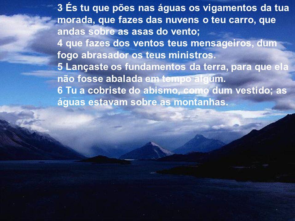 3 És tu que pões nas águas os vigamentos da tua morada, que fazes das nuvens o teu carro, que andas sobre as asas do vento;
