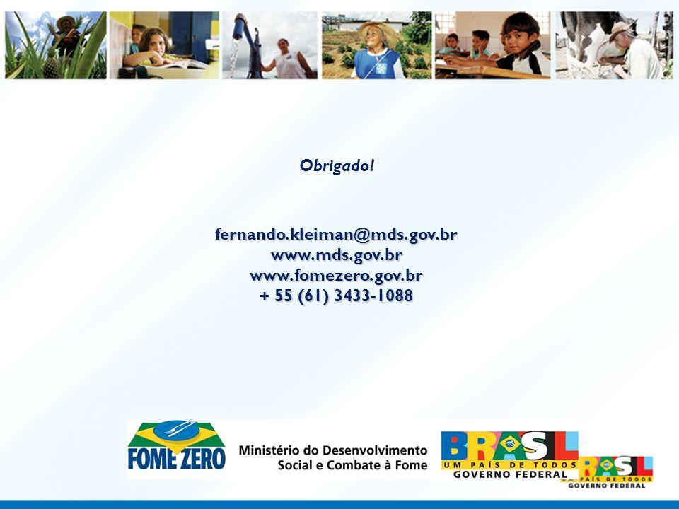 Obrigado! fernando.kleiman@mds.gov.br www.mds.gov.br www.fomezero.gov.br + 55 (61) 3433-1088
