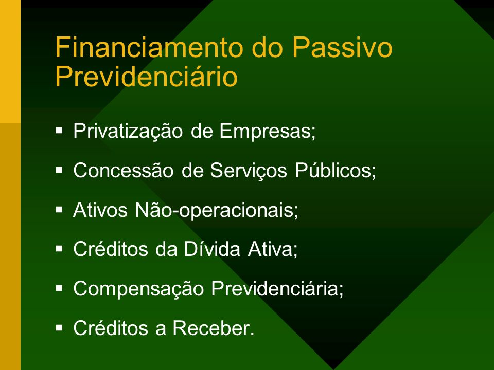 Financiamento do Passivo Previdenciário
