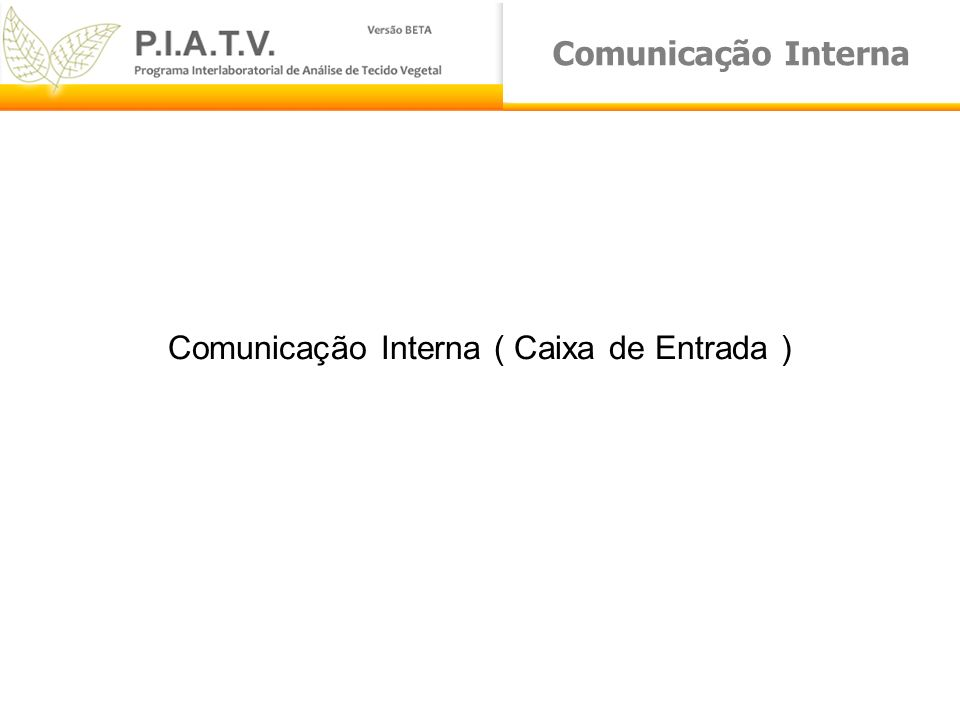 Comunicação Interna ( Caixa de Entrada )